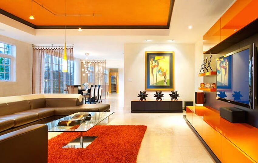 Orange paint to decorate your home