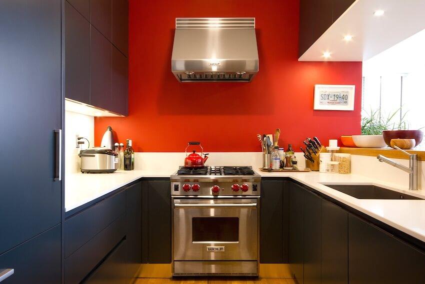 Red kitchen interior paint design
