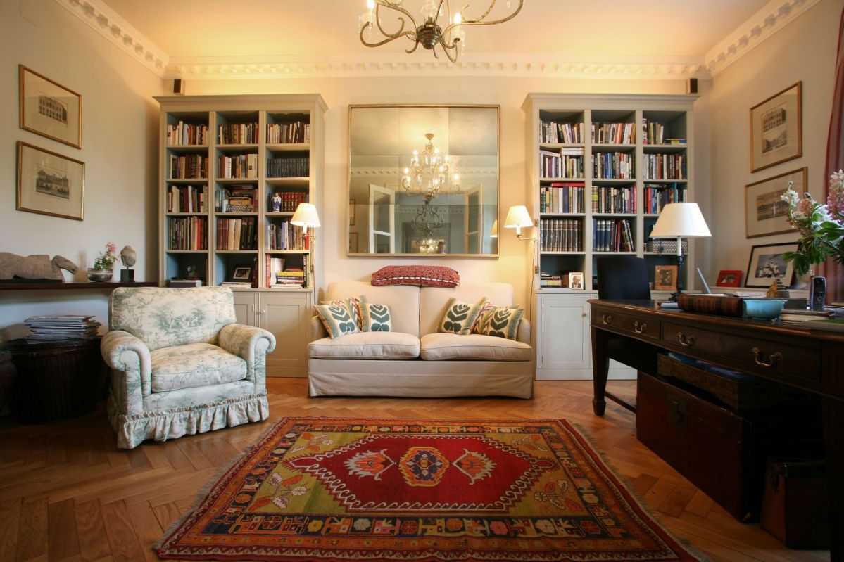 A comfortable, livable living room is the focal point of and English Country home.