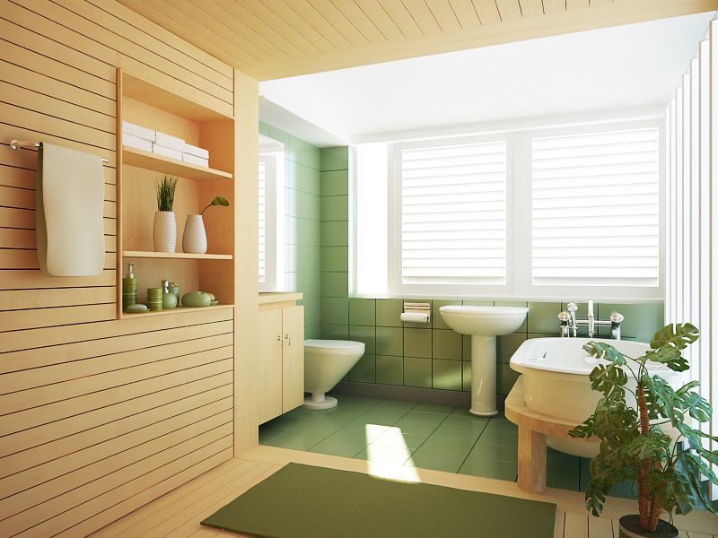 Natural looking green colored bathroom
