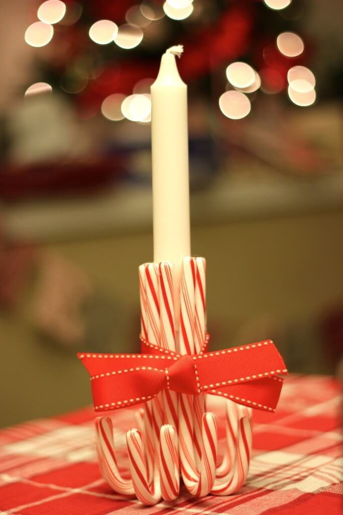 Use candy canes to make a wonderful candle holder!