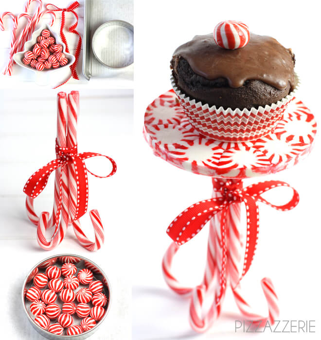 Serve your desserts on this super adorable candy cane cupcake stand!