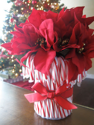 For a colorful addition to your holiday table, make this easy and cute candy cane vase!