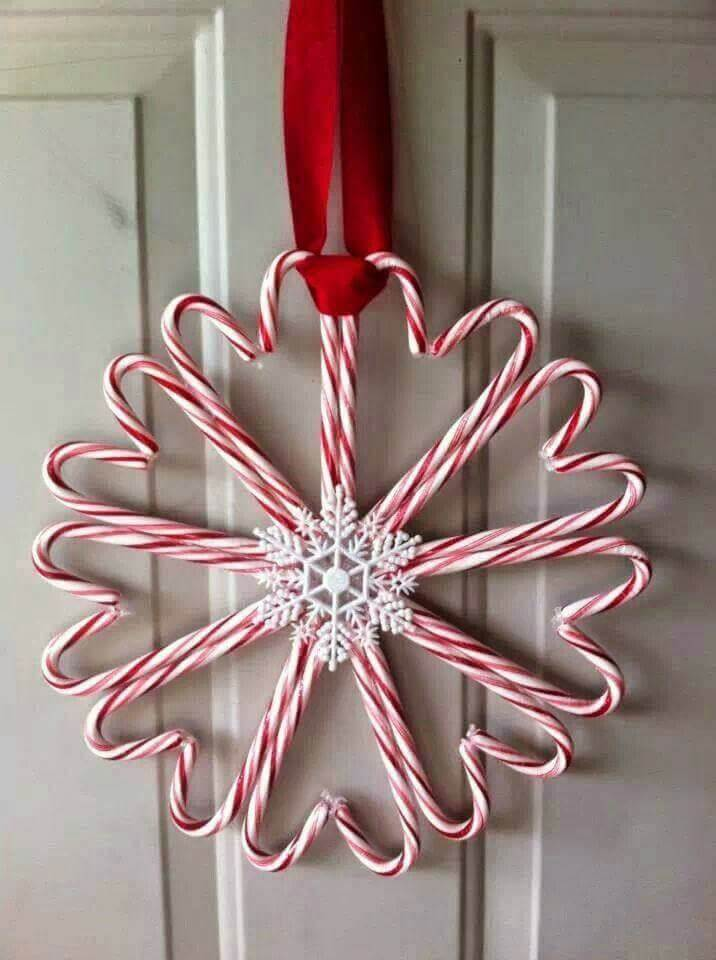 Hang a candy cane wreath on your front door to welcome the holiday spirit!