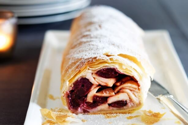 This homemade apple and cherry strudel will be a hit at your holiday dinner!