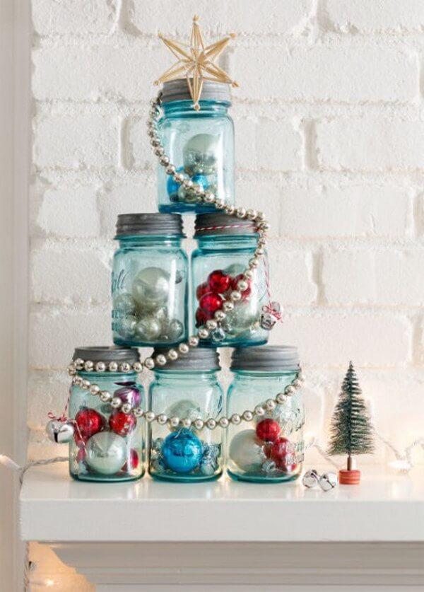 Put those Mason jars to good, festive use by stacking them into a Christmas tree!