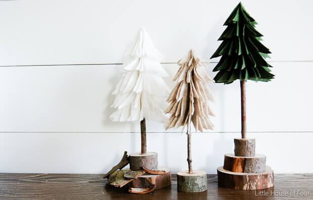 Add a little touch of rustic decor to your holiday home with these DIY felt Christmas trees!