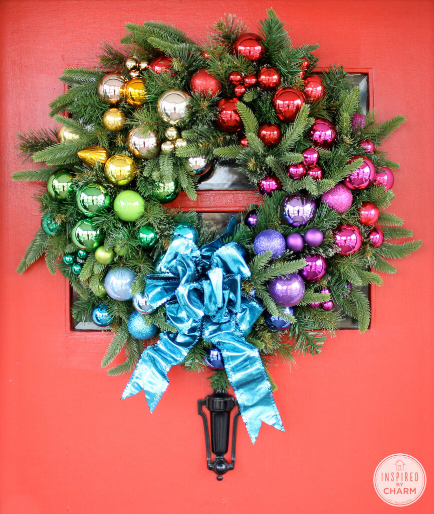 Make this stunning, festive rainbow ornament wreath!