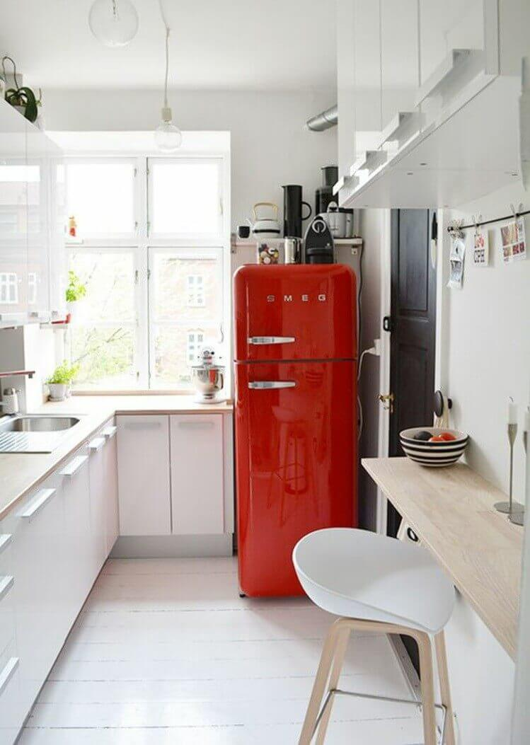 If you don't want to change your entire kitchen, pick one key item to be the colorful focal point.