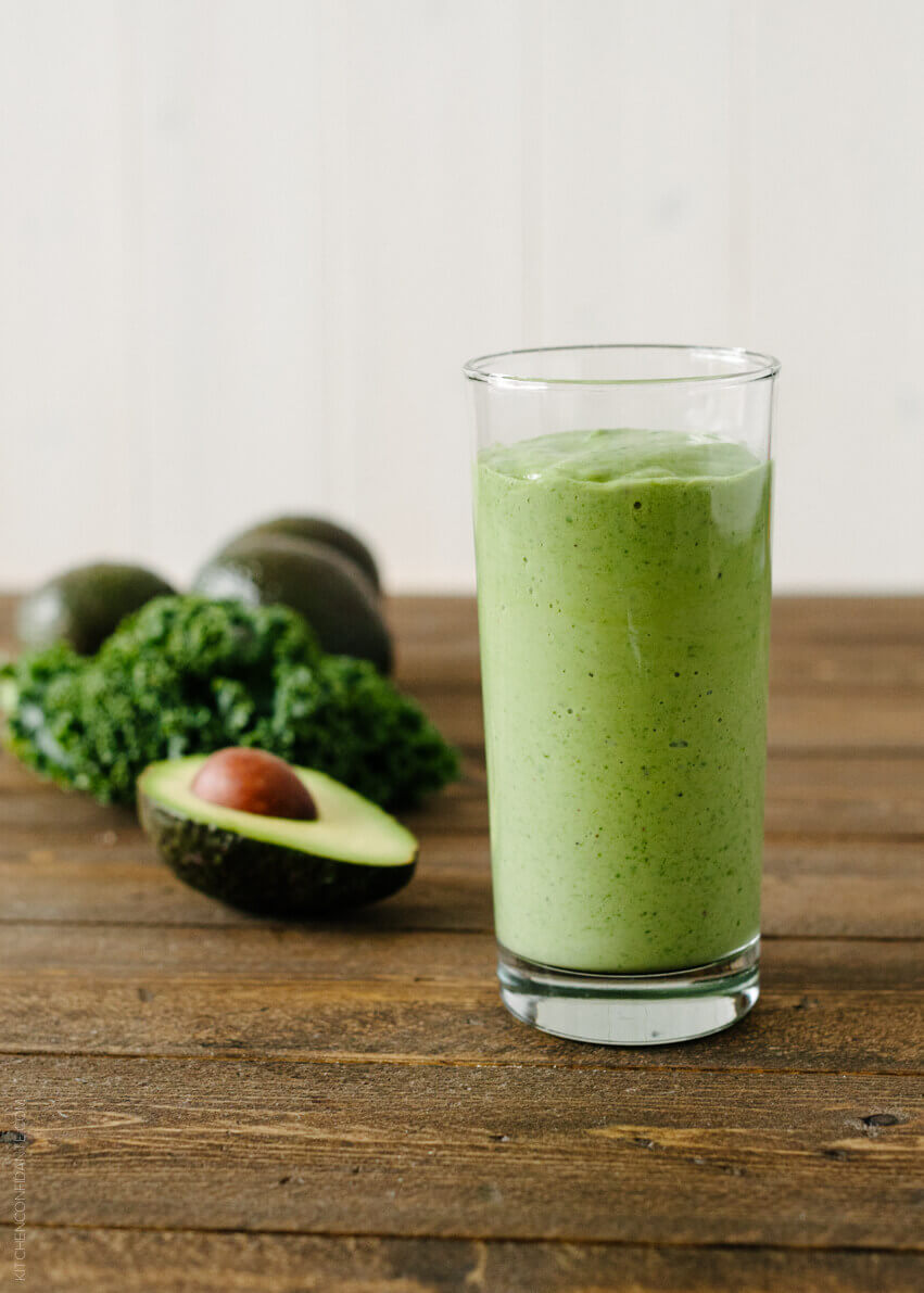 A smoothie made from avocado and kale is full of super healthy ingredients that will make you feel better and healthier!