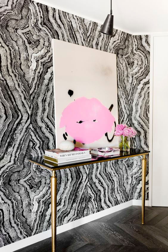 Add a little jazz to your entryway with abstract wallpaper!