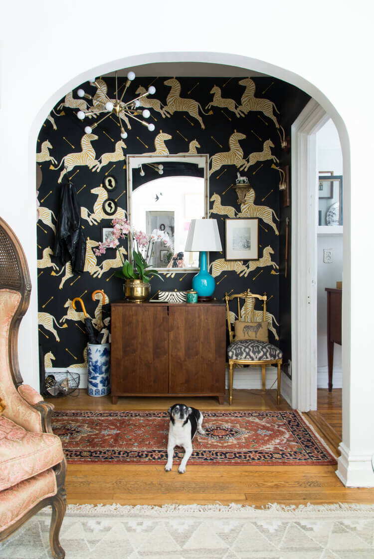 If you have a wild and fun personality, you should choose a wild and fun wallpaper for your entryway!