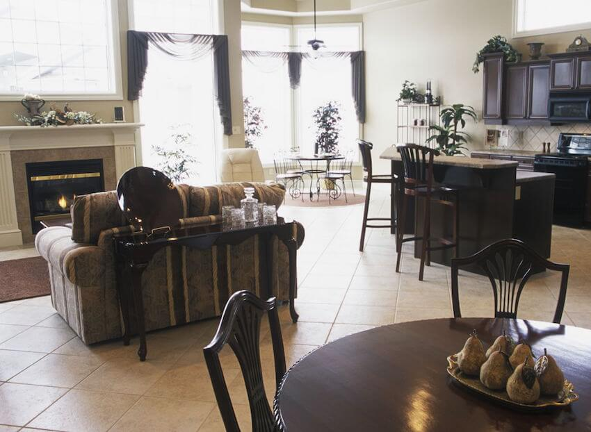 Kitchn and dining room placement for a home interior
