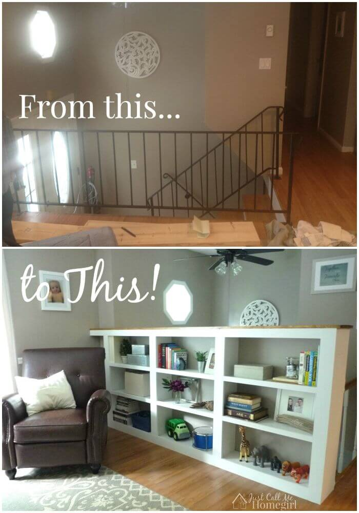 Turn your boring railing into a stunning half wall with a built-in bookcase!
