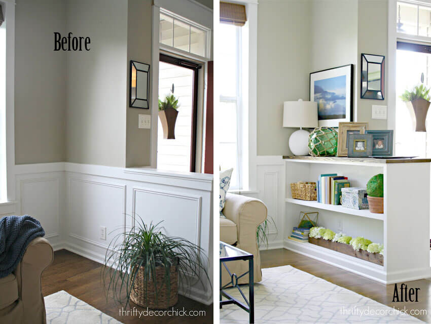 Turn your half wall into a built-in bookcase!