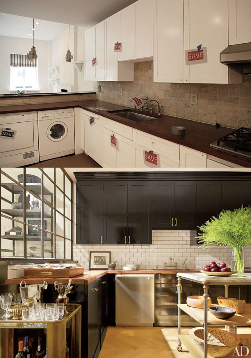 Black cabinets bring a modern feel that most kitchen setups need.