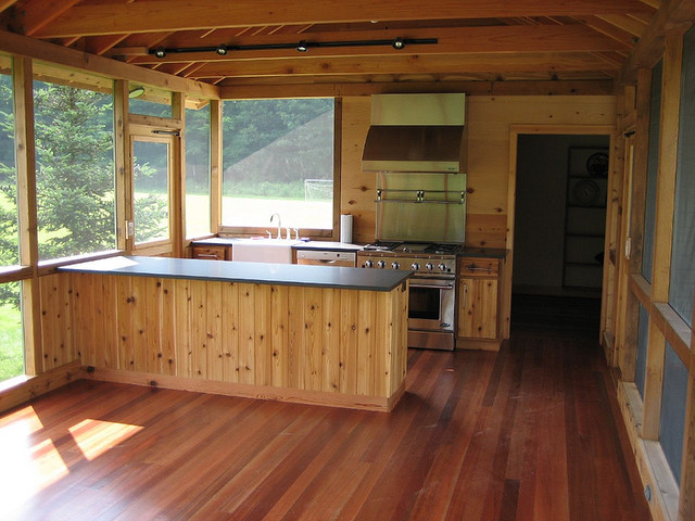 All wooden exterior patio with open air windows