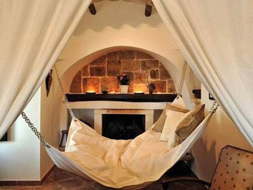 An indoor hammock for relaxing in your living room
