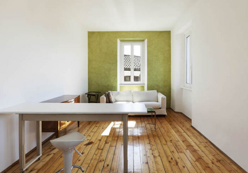 A friendly green accent wall can be easily painted for your home
