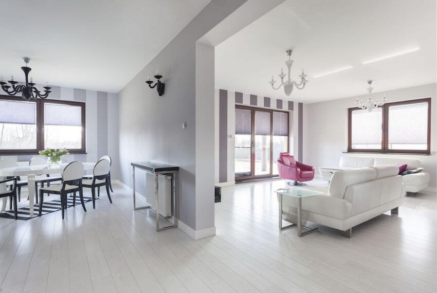 All white interior painting makes for more powerful color statements