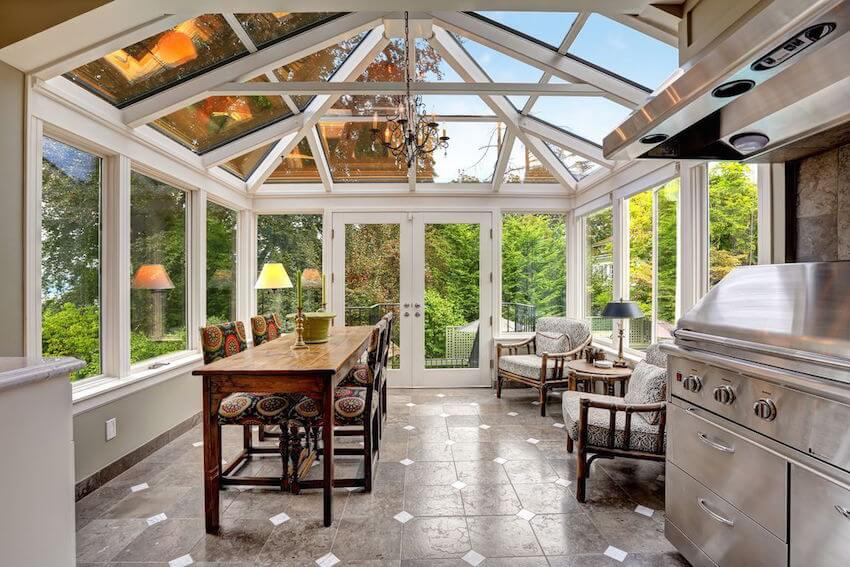 Beautiful open glass windows adorning your interior/exterior patio