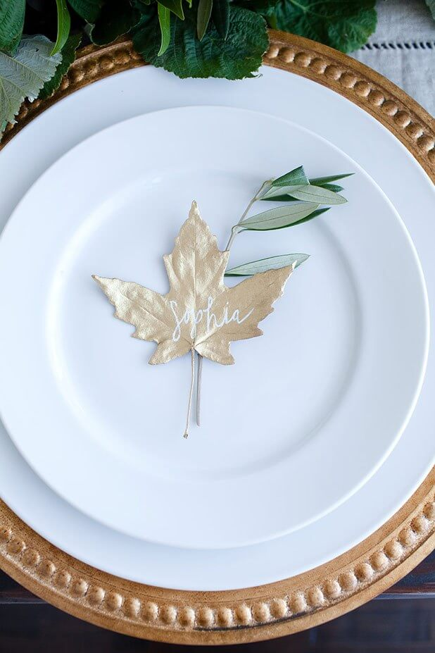 Spray paint a leaf and use it as a placeholder.