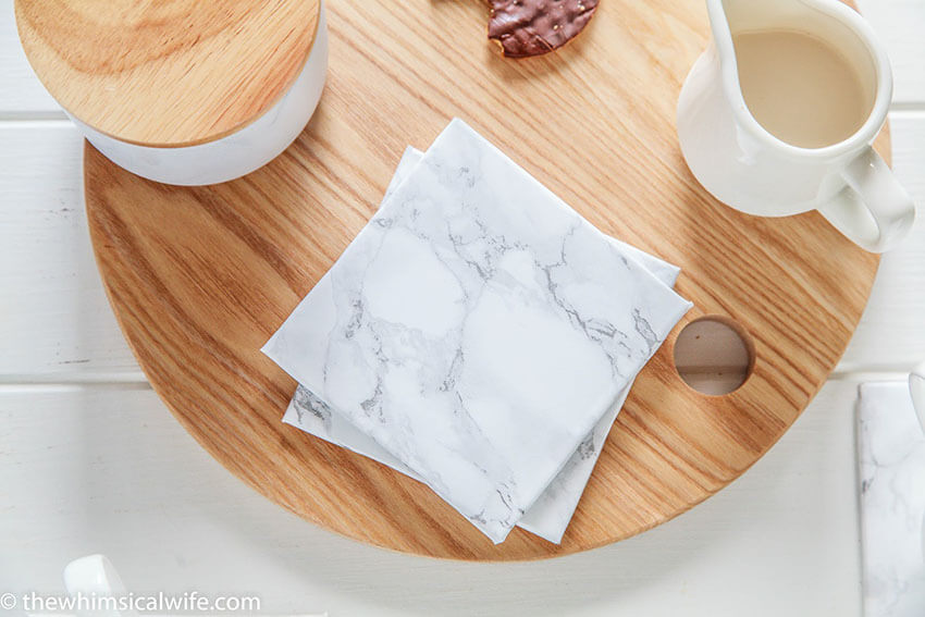 Marble coasters are the perfect addition to your kitchen set.