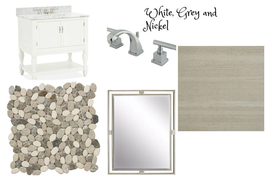 The bathroom will have brushed nickel finishes, a vanity, and a large, modern mirror.