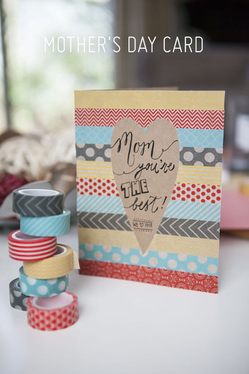 This Washi Tape card is perfect for the little ones to make.