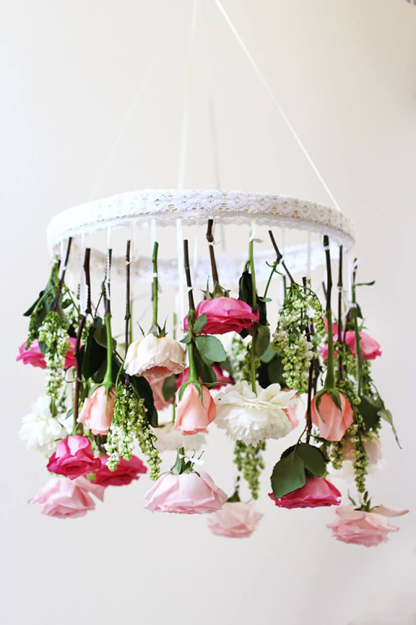 This gorgeous chandelier is perfect for decorating for Mother's Day.