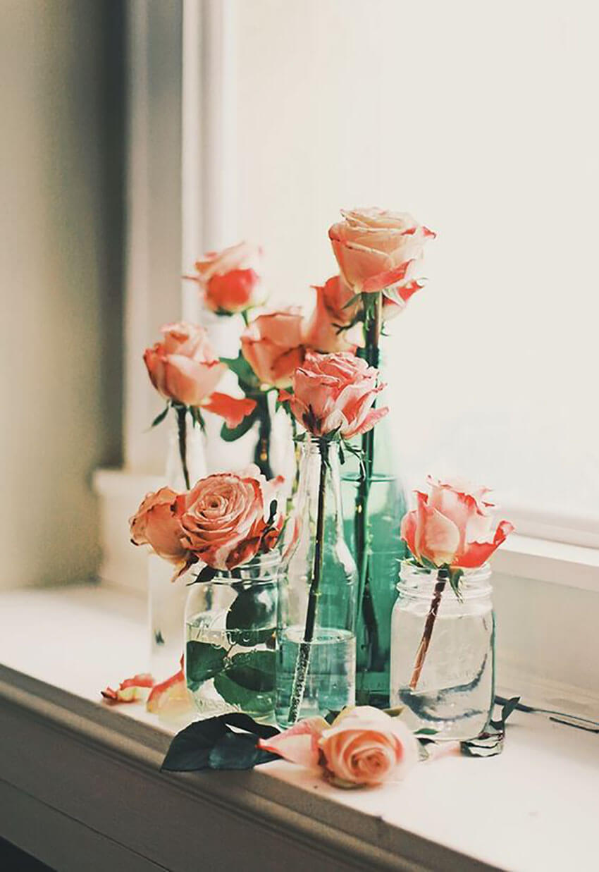 Mason jars are perfect for displaying flowers