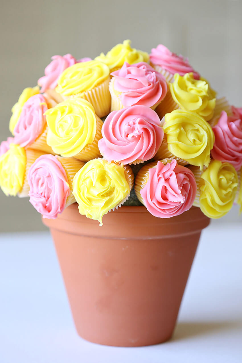 Choose a nice vase and colorful icing for this awesome idea.