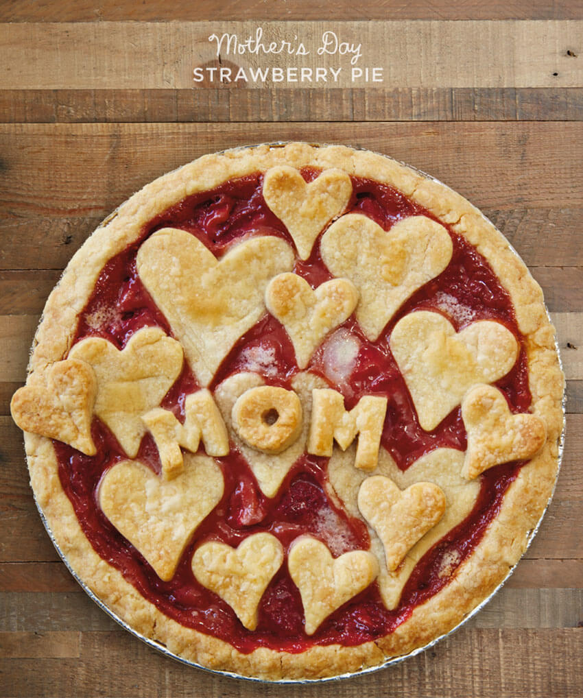 Make small hearts with the pie crust for a beautiful decoration.