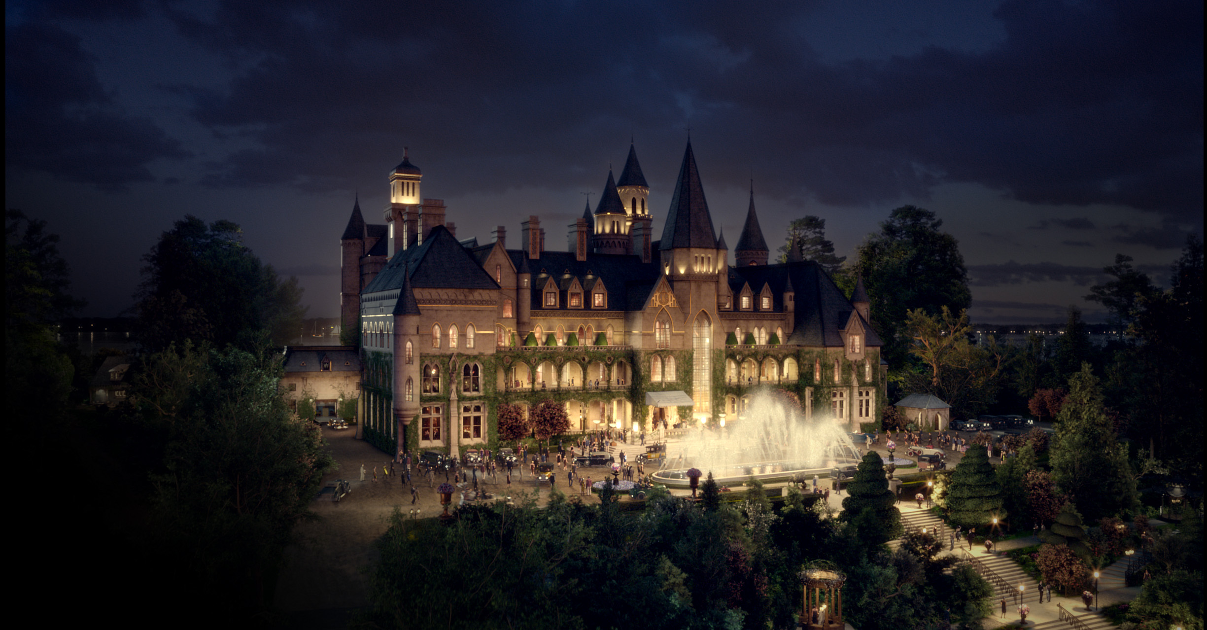 Gatsby's home in the 2013 film was inspired by Oheka Castle.