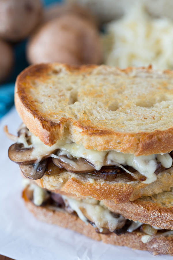 For a simple, vegetarian option, make this scrumptious caramelized onion, mushroom, and Swiss melt!