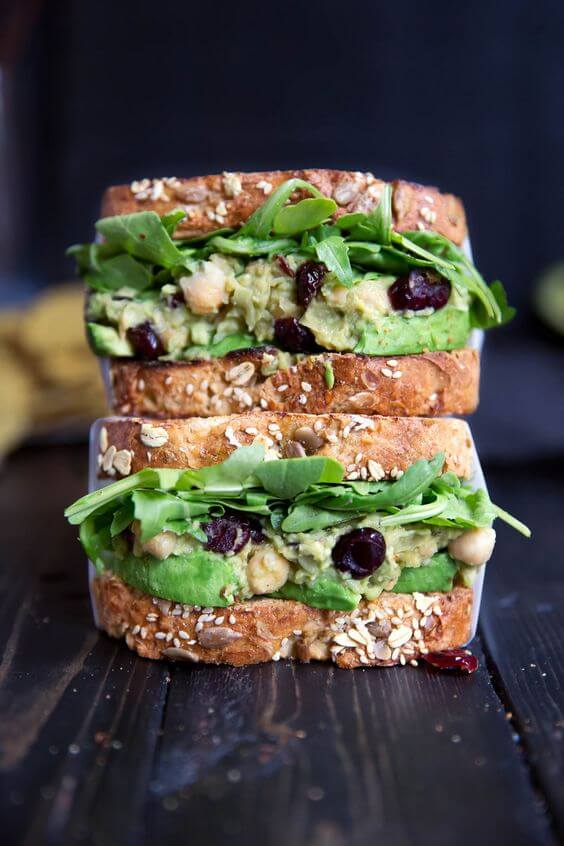 For a quick and healthy sandwich option, try this smashed chickpea and avocado salad sandwich!