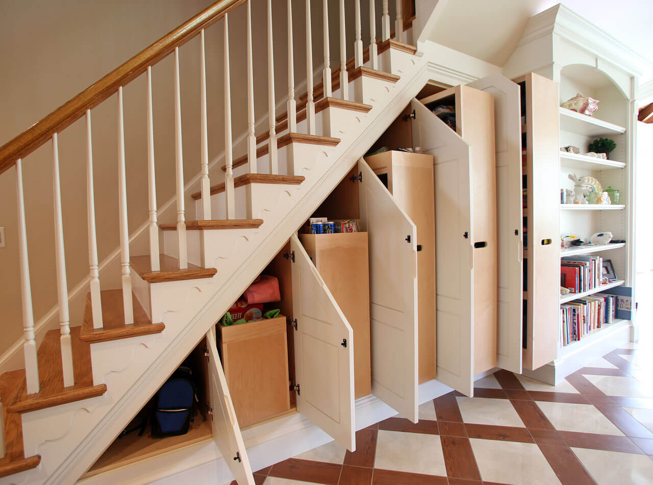 Time and space saving staircase closet