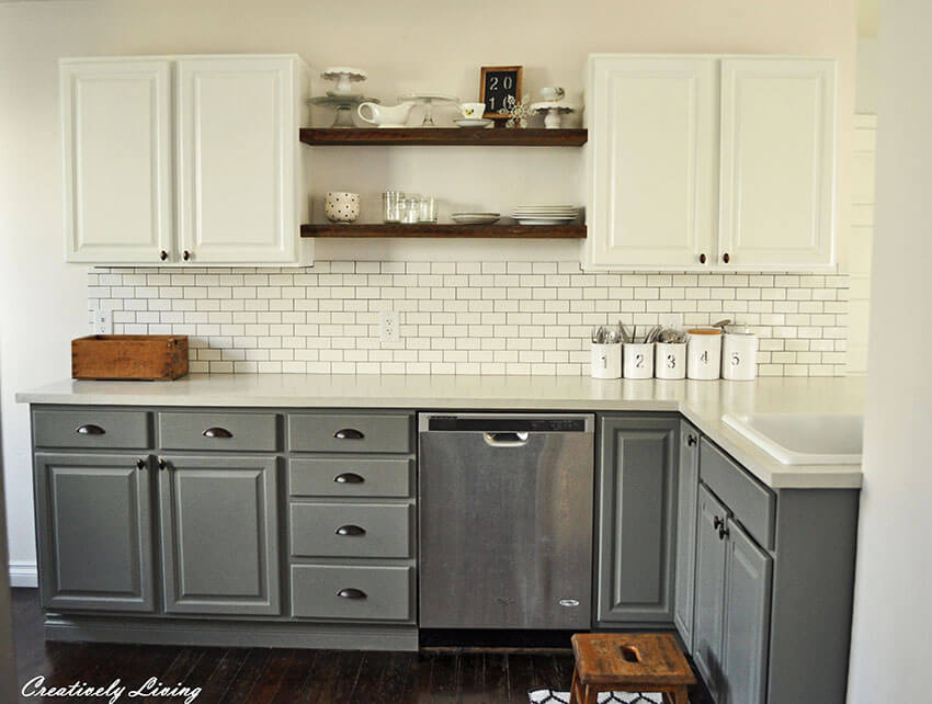 Concrete countertops goes well with any cabinet style.