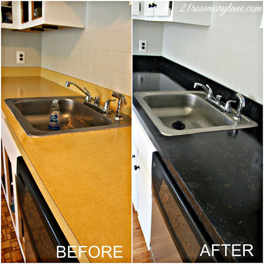 Transform your dated formica counters with paint!
