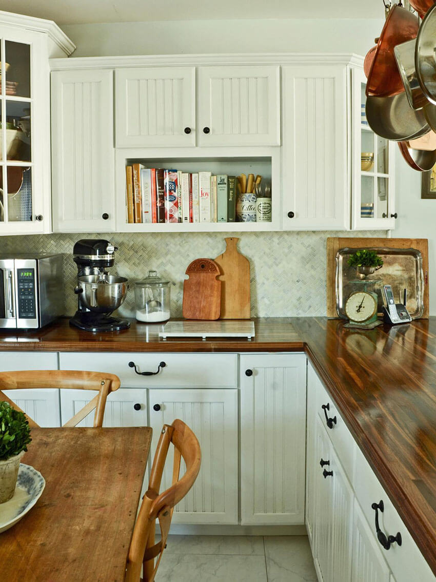 Butcher block counters bring sophistication to any kitchen style.