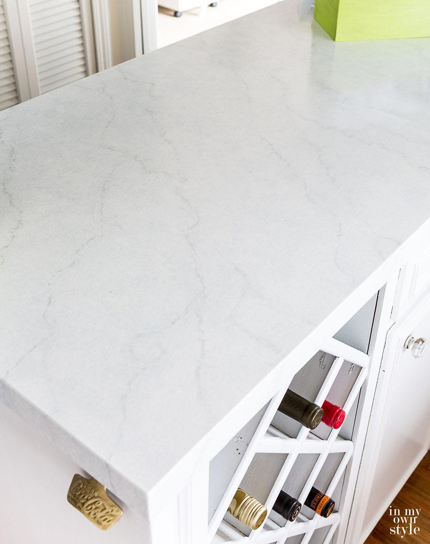 Marble-looking countertops without the marble price.