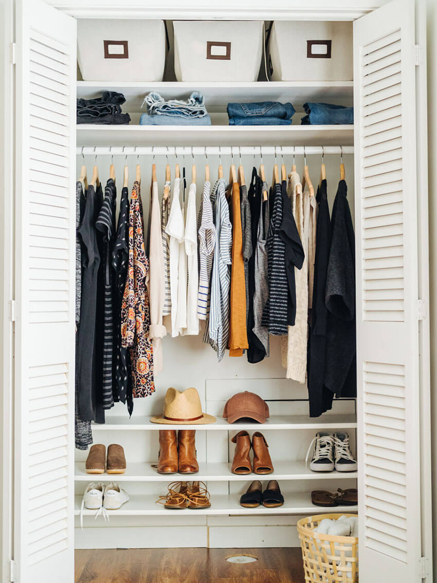 Keep your shoes in shelves to maintain the closet organized.