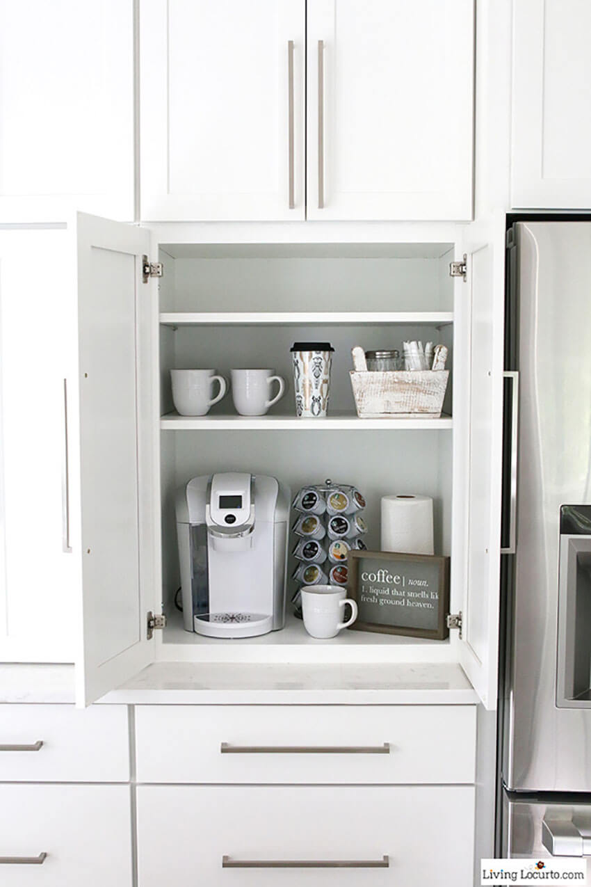 Keep coffee mugs and supplies together to maintain the space organized and save you time.