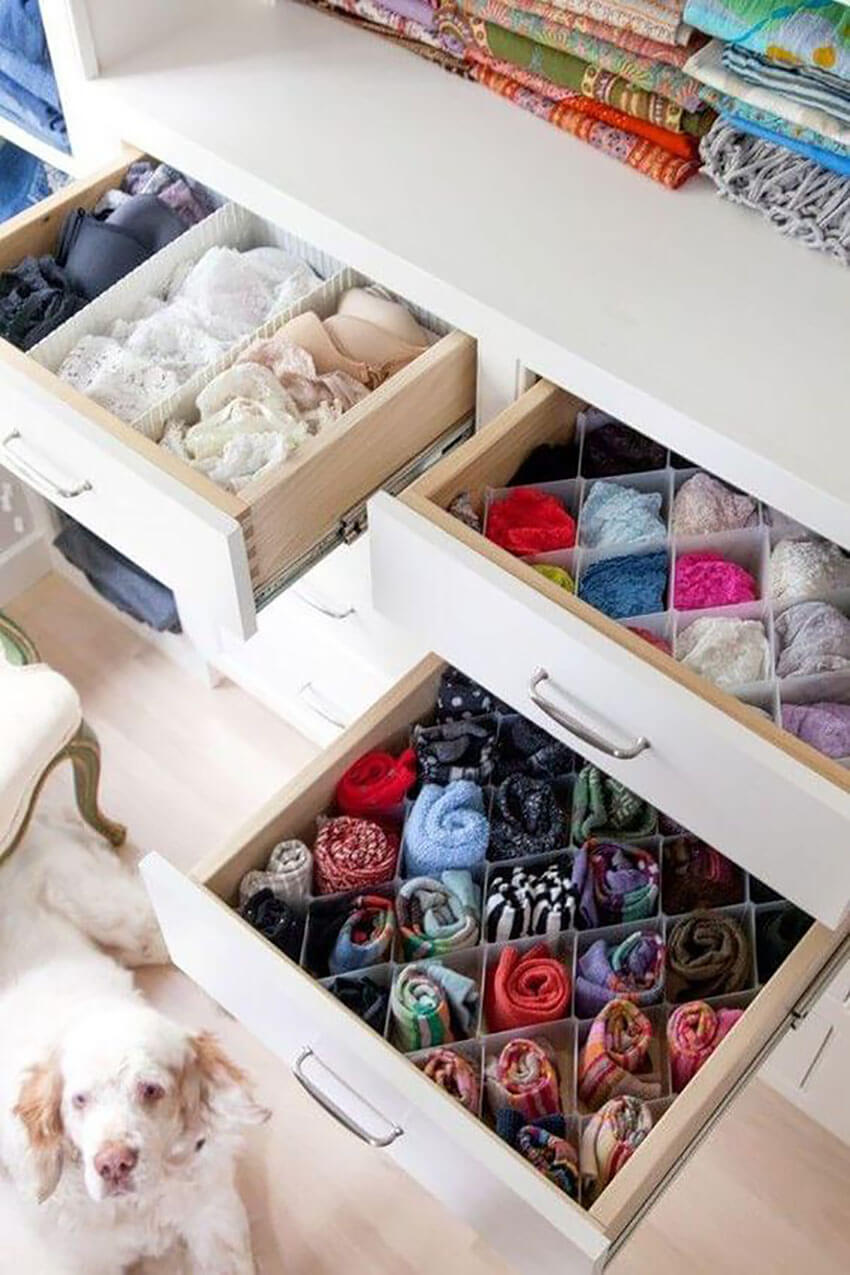 Roll your shirts in drawers to save some shelf space.