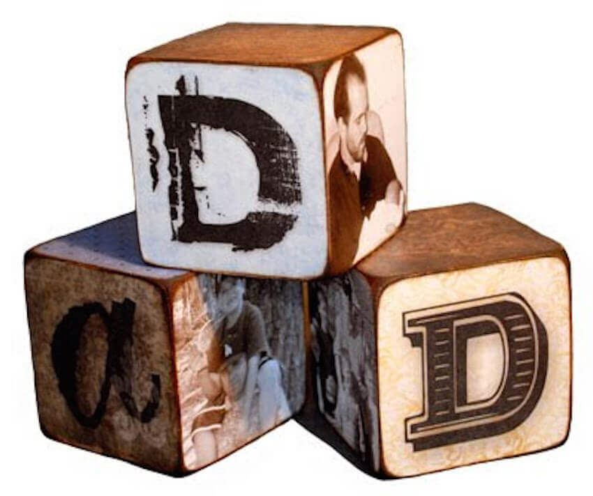 Bring your favorite memories to life with these adorable dad blocks. Perfect for a mantel or on your dad�??s desk, he will always be reminded of your good times and how much you love him!