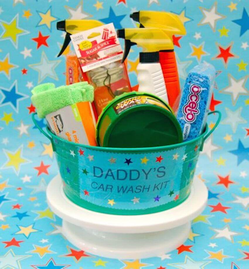 Is Dad's second love his car? Have the kids decorate a bucket for him and fill it with all the things he needs to clean his car. Not only will it be something he can use but also a great way to include the whole family in a cooling off activity this summer!