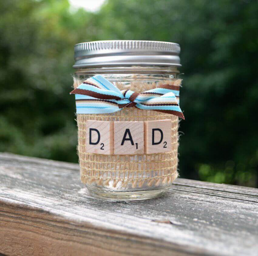 Give your dad the gift of time spent with this amazing and (almost) free gift! Decorate your jar with Scrabble letters or anything you want. Inside the jar create coupons redeemable by your dad for the things he wants to do. Whether that be watching a movie of his choice with the family, an afternoon of fishing or a day spent in the workshop, it will make him very happy!