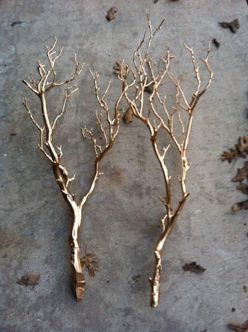 Everything can be golden! Make some golden antlers out of twigs and spray paint