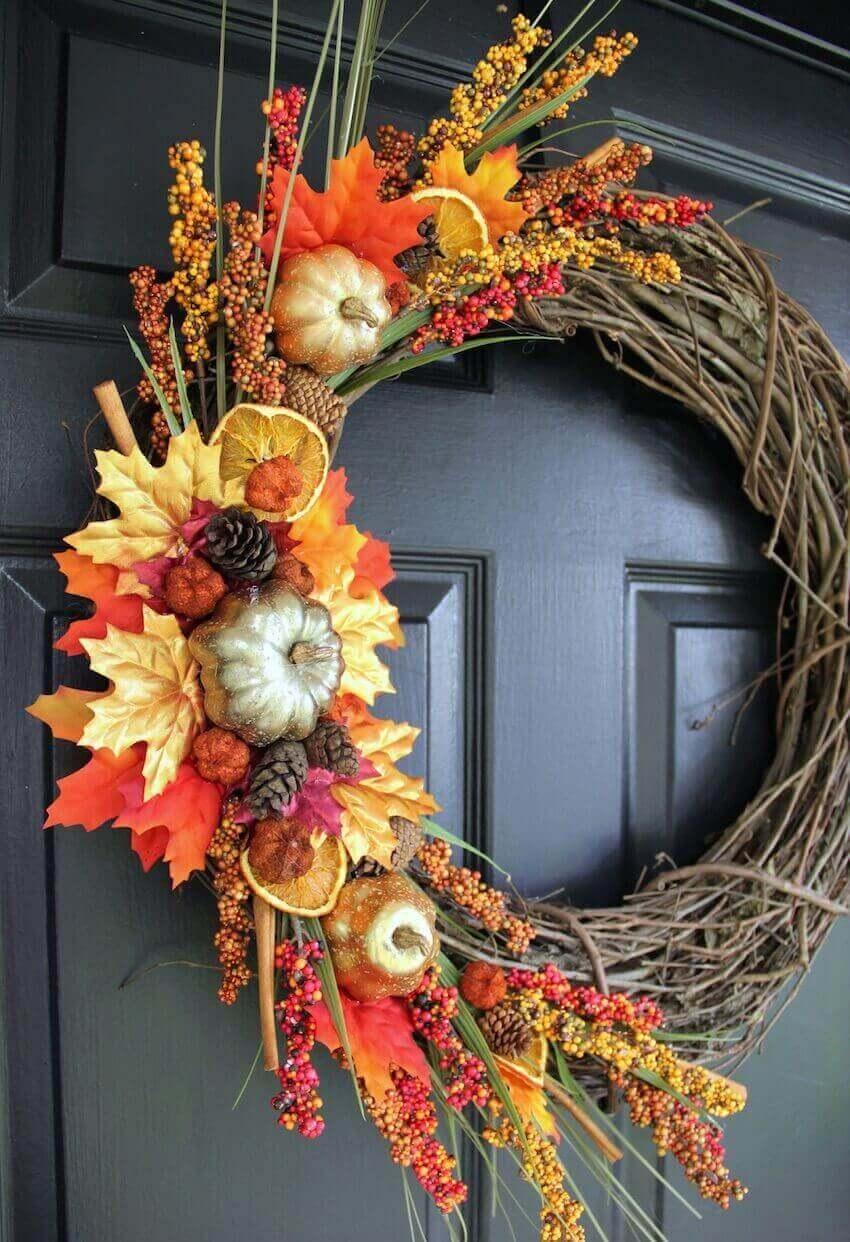 Front door wreath for seasonal joy