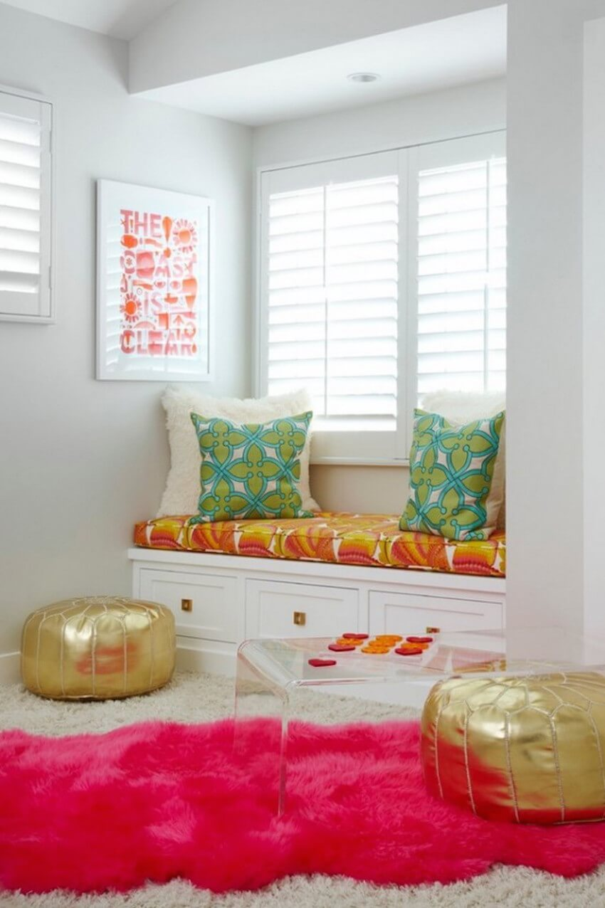 A brightly colored fluffy nook for those who like a little flair